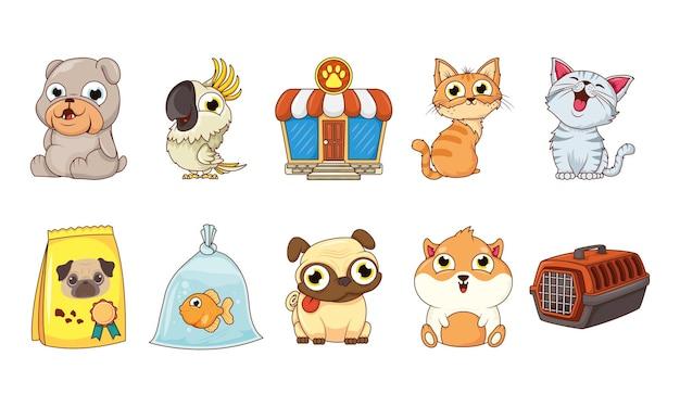 Grupo de personagens animais de estimação e bolsa de comida com fachada de loja