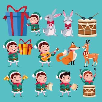 Grupo de personagens de ajudantes de papai noel com ilustração de animais e instrumentos