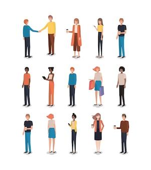 Grupo de personagens de amigos de pessoas