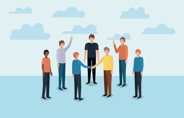 Grupo de personagens de amigos homens