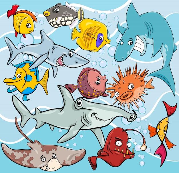 Grupo de personagens de animais de desenhos animados de peixe