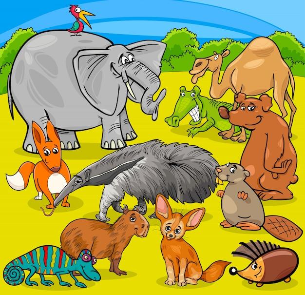 Grupo de personagens de animais de desenhos animados
