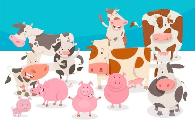 Grupo de personagens de animais de fazenda com quadrinhos fofos