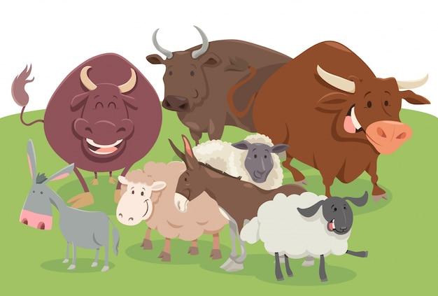 Grupo de personagens de animais de fazenda comic