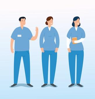Grupo de personagens de avatar de paramédicos