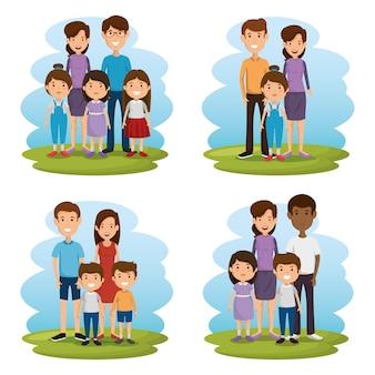 Grupo de personagens de avatares de membros da família
