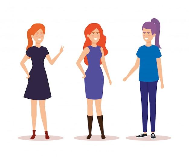 Grupo de personagens de avatares de meninas