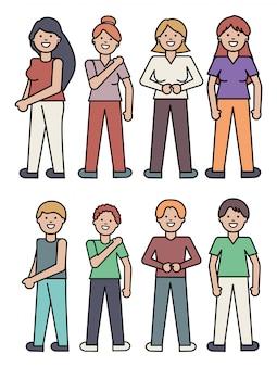 Grupo de personagens de avatares de pessoas