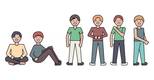 Grupo de personagens de avatares masculinos