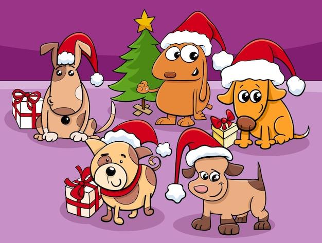 Grupo de personagens de cães de desenho animado na época do natal
