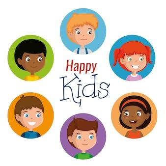 Grupo de personagens de crianças felizes