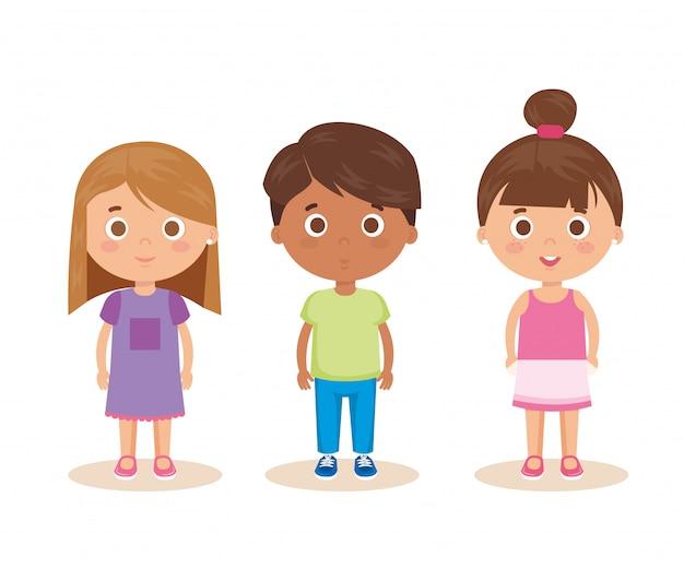 Grupo de personagens de crianças pequenas