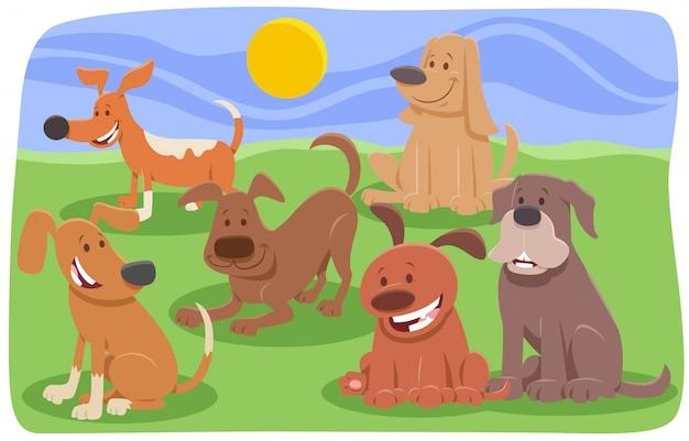 Grupo de personagens de desenhos animados de cães e filhotes