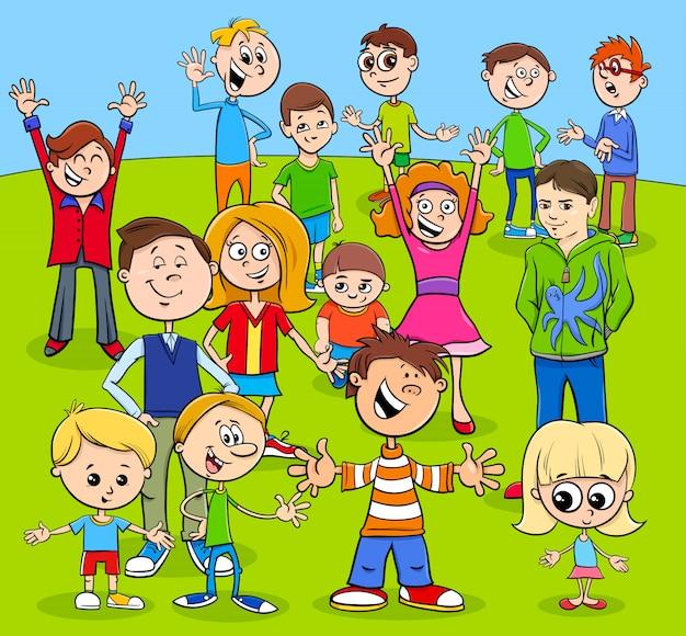 Grupo de personagens de desenhos animados de crianças e adolescentes