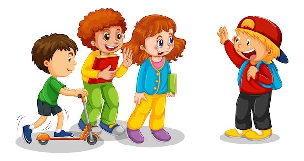 Grupo de personagens de desenhos animados de crianças pequenas em fundo branco