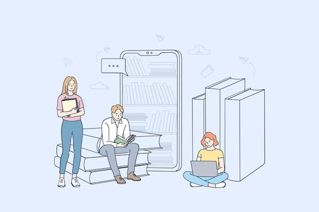 Grupo de personagens de desenhos animados jovens aprendendo online, lendo e-books e estudando com smartphones e laptops.