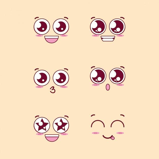 Grupo de personagens de emoticons de rostos