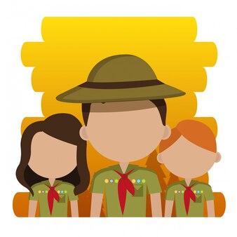 Grupo de personagens de escoteiros