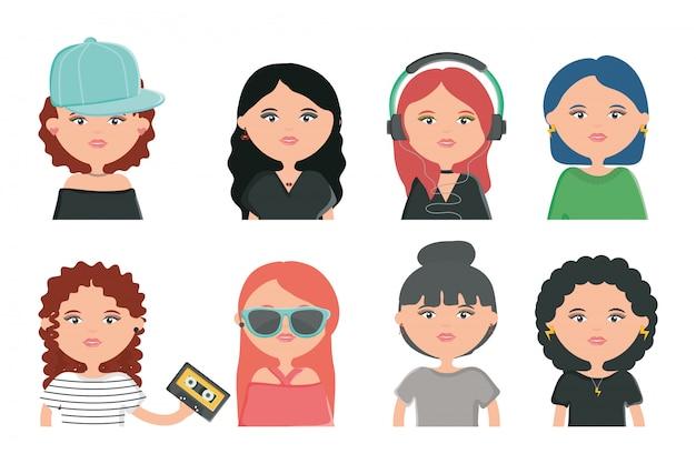 Grupo de personagens de estilo urbano de jovens de meninas