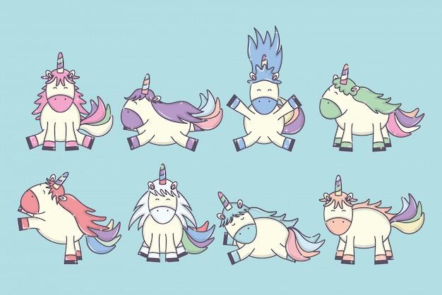 Grupo de personagens de fadas unicórnios fofos adoráveis