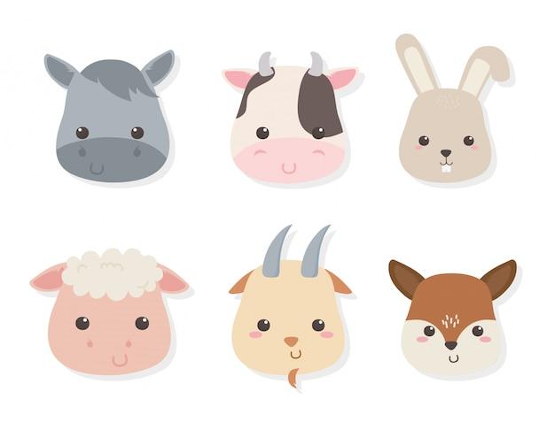 Grupo de personagens de fazenda animais fofos