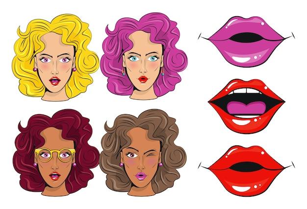 Grupo de personagens de garotas bonitas e poster de estilo pop art de bocas sexi.