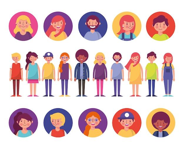 Grupo de personagens de jovens