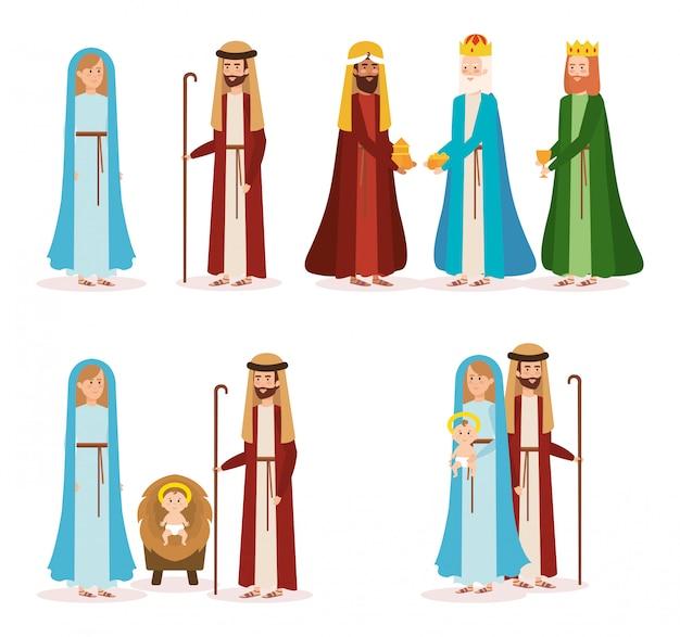 Grupo de personagens de manjedoura