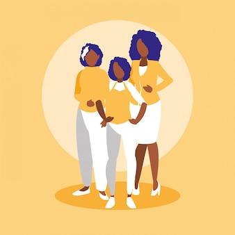 Grupo de personagens de membros da família negra