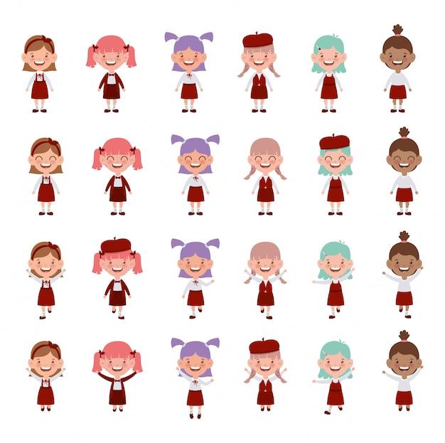 Grupo de personagens de meninas de estudante