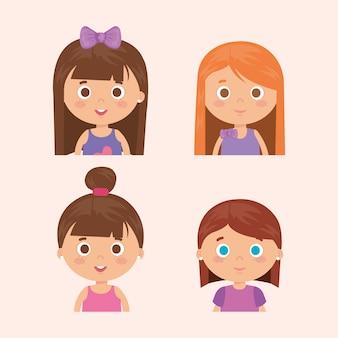 Grupo de personagens de meninas pequenas