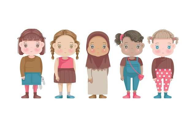 Grupo de personagens de meninas pequenas.