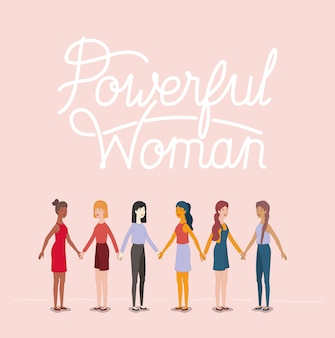 Grupo de personagens de mulheres com mensagem feminista