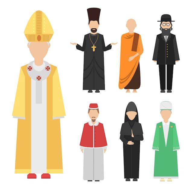 Grupo de personagens de pessoas de religião de homens de diferentes nacionalidades humanas vestindo roupas tradicionais.