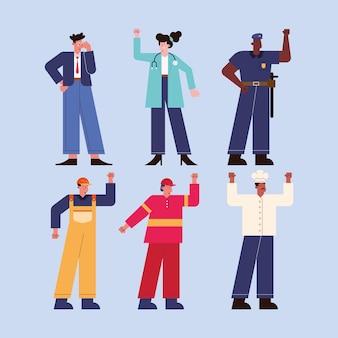 Grupo de personagens de seis trabalhadores profissionais