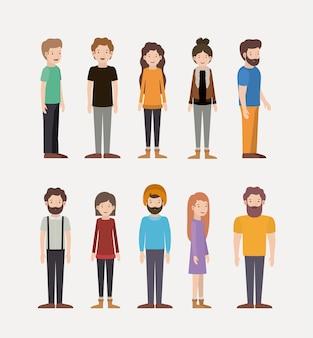 Grupo de personagens de trabalho em equipe de pessoas