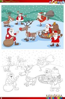 Grupo de personagens do papai noel na página do livro para colorir de natal Vetor Premium