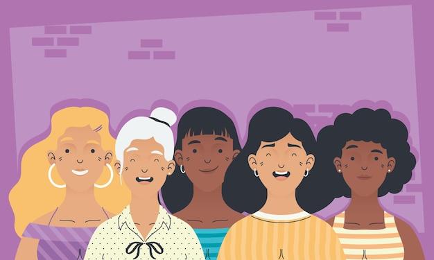 Grupo de personagens femininas inter-raciais