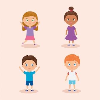 Grupo de personagens fofinhos avatar crianças