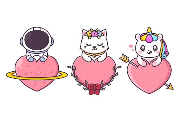 Grupo de personagens fofinhos com coração enorme