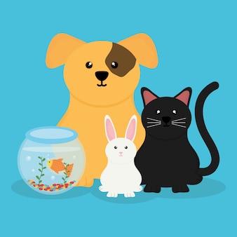 Grupo de personagens fofinhos de animais de estimação