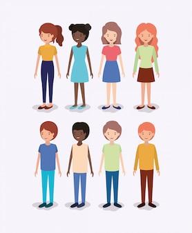 Grupo de personagens infantis de diversidade