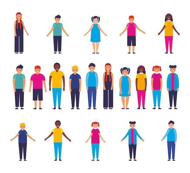 Grupo de personagens inter-raciais de crianças