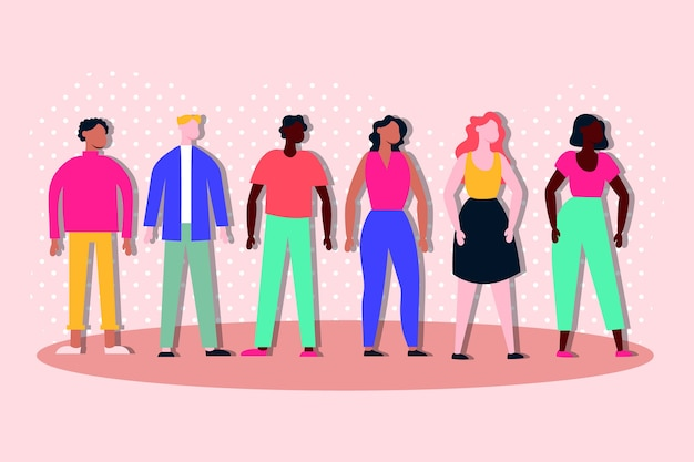 Grupo de personagens inter-raciais de inclusão