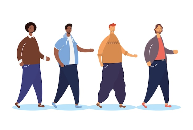 Grupo de personagens inter-raciais masculinos caminhando
