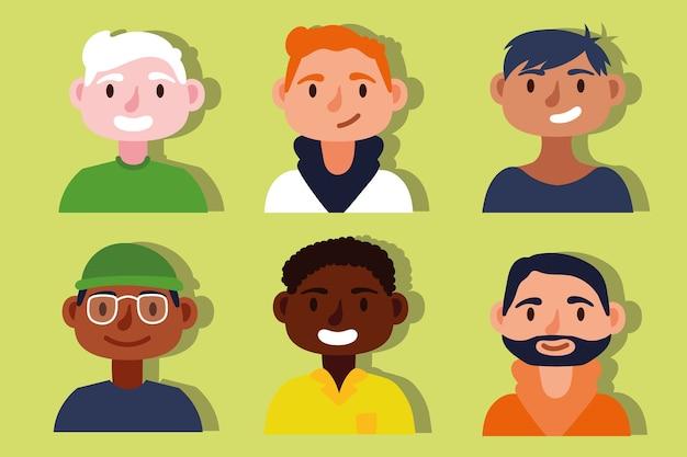 Grupo de personagens inter-raciais masculinos do conceito de inclusão