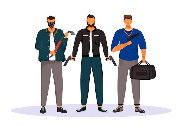 Grupo de personagens plana de bandidos