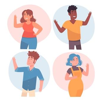 Grupo de pessoas acenar as mãos