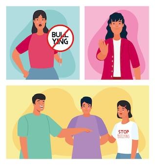 Grupo de pessoas afetadas por bullying com sinal de parada