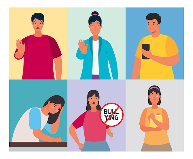 Grupo de pessoas afetadas por cyber bullying e caracteres de sinal de parada